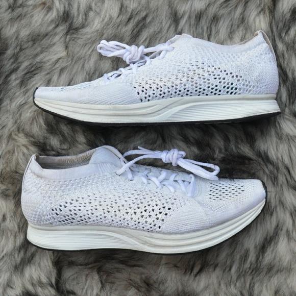 fccec37d1f48 Nike Flyknit Racer White Goddess Shoes. M 5b65128b7386bc6f5bf481b7